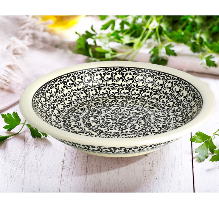 Deep dinner plate. Made of natural ceramic clays, hand formed and hand decorated by Bolesławiec artist.