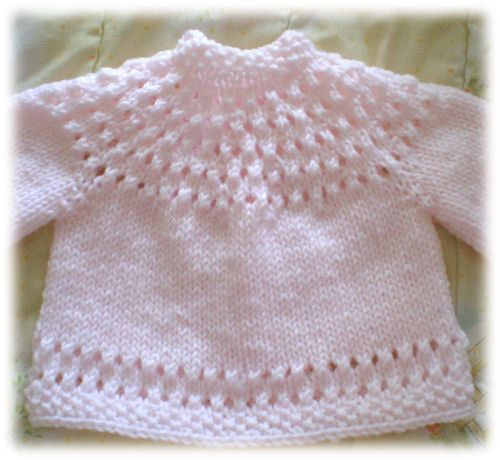 One Piece Sweater Knitting Pattern : Pretty Baby Sweater - a fun top down knit done all in one piece...no seams to...