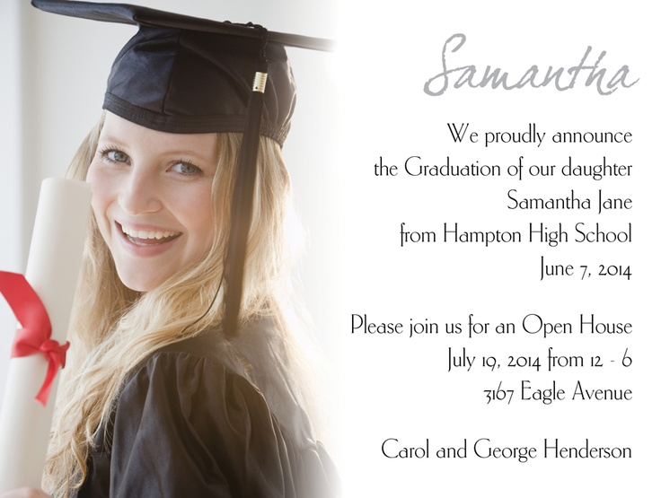 announce the news of your graduation with flair  your full color photo is printed to the left of