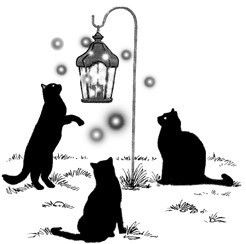 3 Black Cats Silhouette