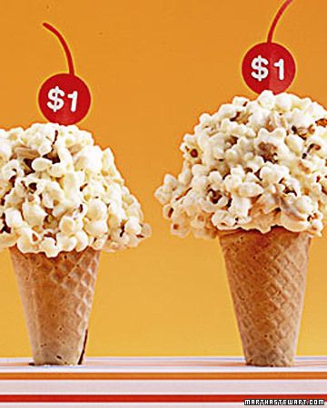 Popcones  -Cones filled with marshmallow-almond popcorn stand in a paper-wrapped aluminum-foil box with small holes.    Read more at Marthastewart.com: Kid-Friendly Recipes