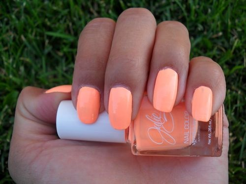 "JulieG Nail Polish Color Neon ""9to5"" Peach Coral Light Orange Creme HTF 9 to 5"
