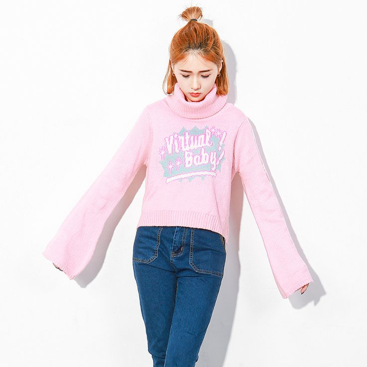 Women's winter clothing autumn oversized sweater Harajuku SailorMoon pink sweater turtleneck knitted sweater womens jumpers Top