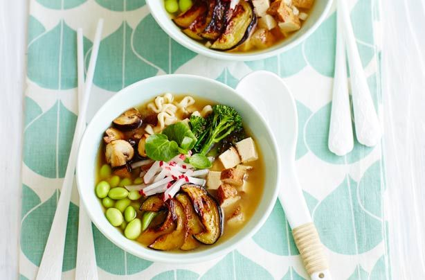 Ramen soup is perfect if you love noodles, but want something healthier than a takeaway. Aubergine, mushroom, broccoli, soya beans and radishes make this noodle soup packed with nutrients. The addition of tofu makes this dish suitable for vegetarians too. Since it only takes 20 minutes to prepare, you can eat it for either lunch or dinner – plus, it's so light at only 203 calories per serving.
