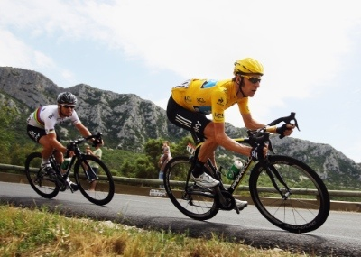 Image detail for -LE CAP D'AGDE, FRANCE - JULY 14: Race leader Bradley Wiggins of Great Britain and SKY Procycling leads team mate Mark Cavendish of Great Britain during stage thirteen ...