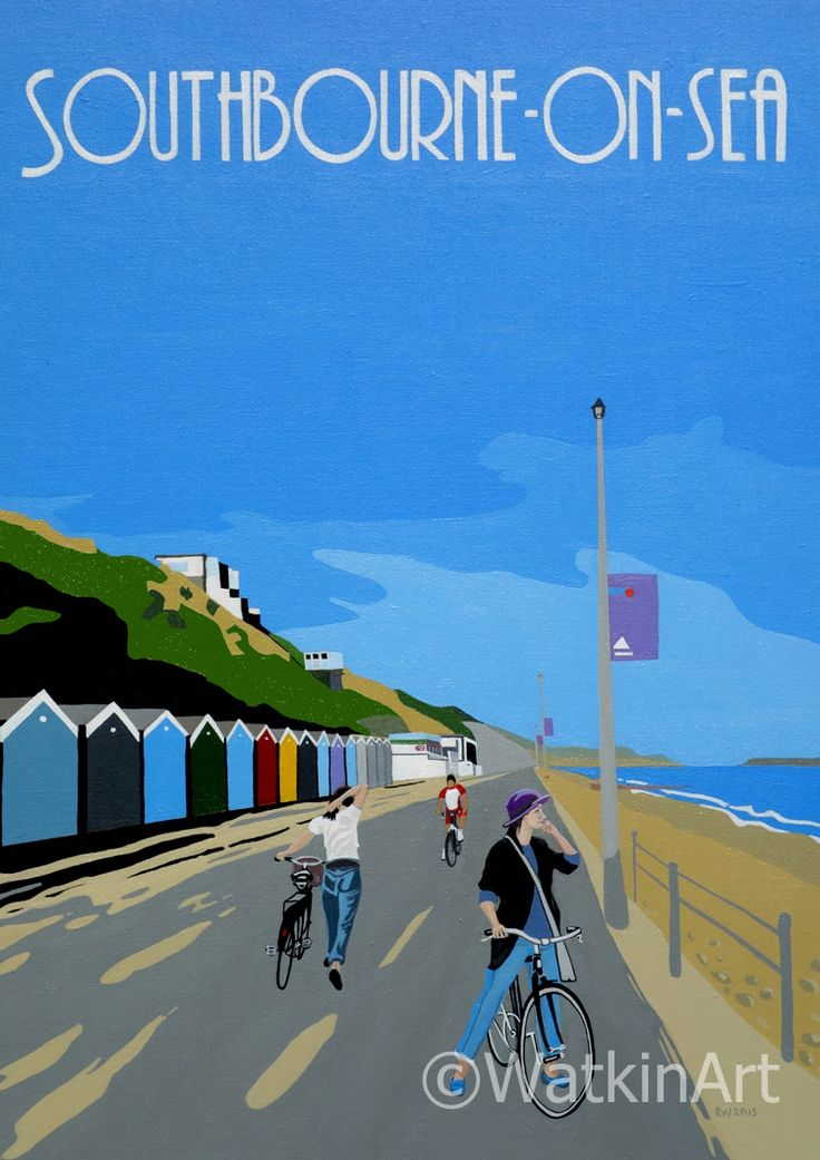 Southbourne-on-Sea Bournemouth original painting and prints available from www.watkinart.co.uk