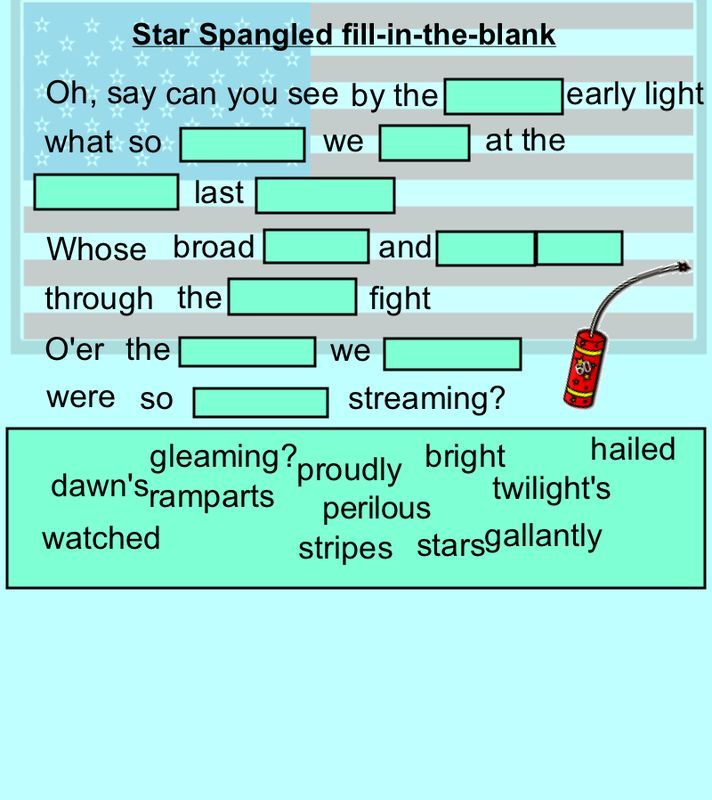 Smartboard Fill In The Blank - Scroll down to the bottom of the page to open the Star Spangled Banner one!