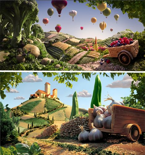 Herb grass, broccoli trees, baguette mountains, potato rocks and red onion hot air balloons create surreal landscapes in the foodscapes of artist Carl Warner.