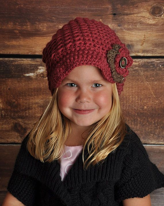 Girls Crochet Newsboy Hat with Flower by Little Sweetheart Designs