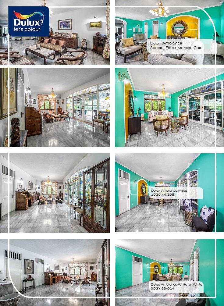 DIY Menata ulang ruang keluarga dengan paduan warna hijau mint & gold dari Dulux Ambiance™ Collection. By Dulux