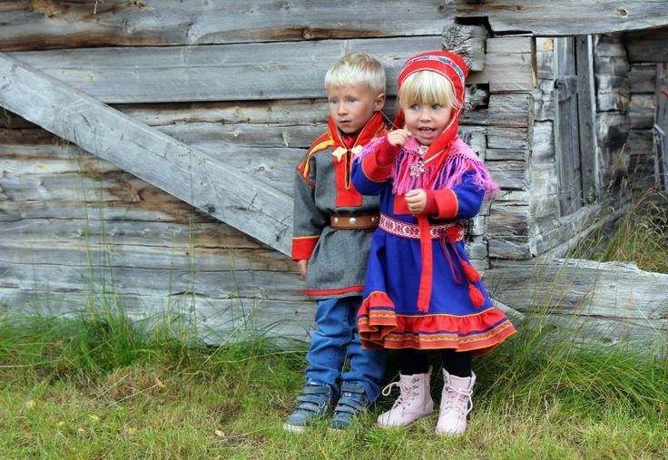 Indigenous people, sámi boy and a girl