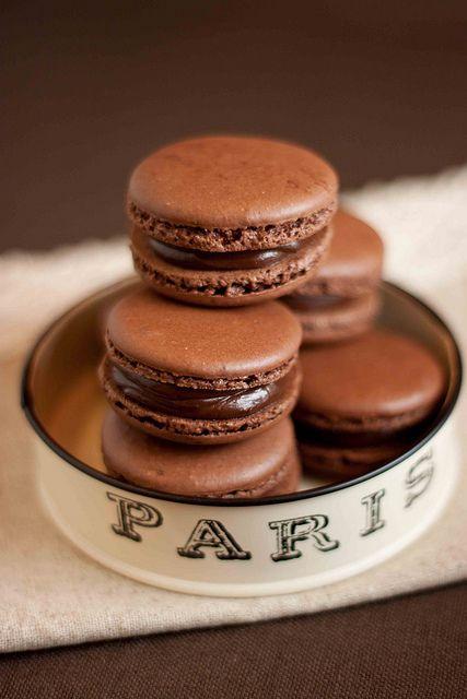 chocolate macarons: