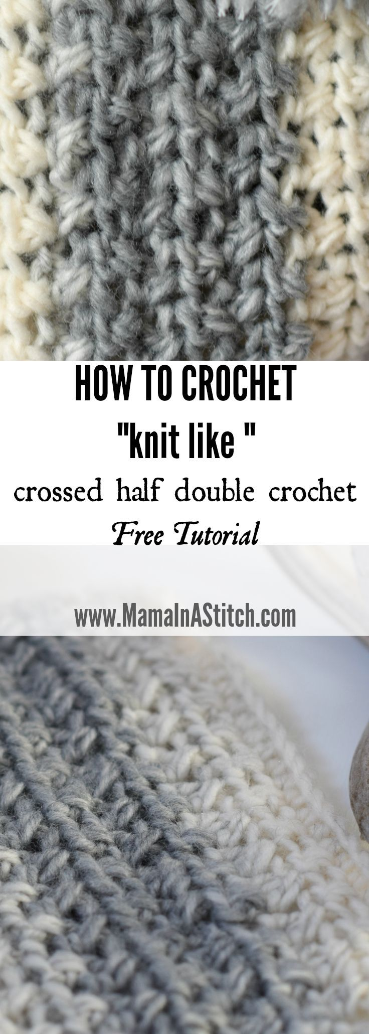 Pretty, simple crochet stitch tutorial and how to. Crossed Half Double Crochet Stitch Tutorial that creates an almost knit look via @MamaInAStitch