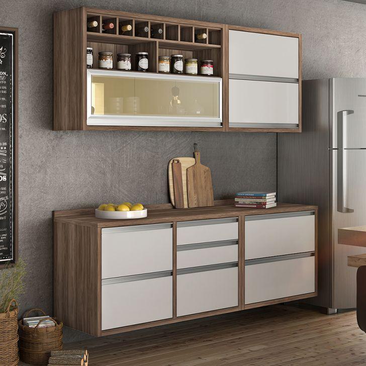 Cozinha Compacta Baronesa 5 Pt 5 Gv Branca E Marrom Em 2020