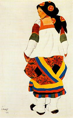 Leon Bakst (1866-1924) was a painter and designer born in Russia in what is now Belarus. He was a memorable leading light in the new profession of theater design, most especially once he began his inspired collaboration with the great cultural impresario, Sergei Diaghilev of the famed Ballets Russe.