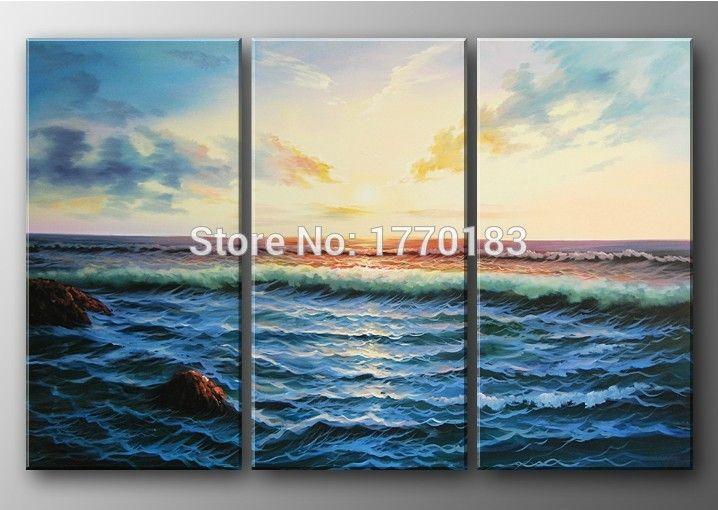 Мастер искусства современного волны океана море картина маслом утро пейзаж холст фотографии 3 панели украшения дома стены холст t3p23