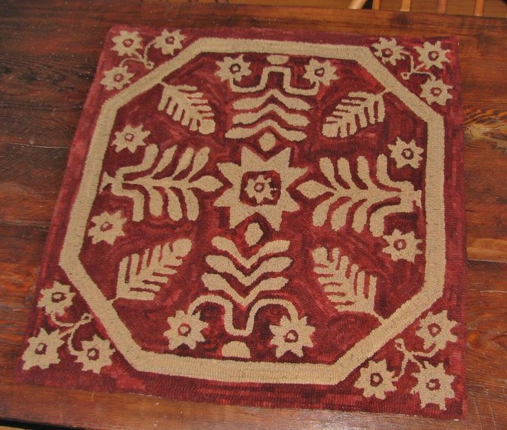 "PRIMITIVE HOOKED RUG KIT ~ ""ANTIQUE COVERLET"" ~ PATTERN AND ALL WOOL #NaivePrimitive"