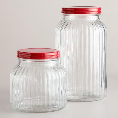 Small Ribbed Jar With Red Lid Jars Industrial And Glass