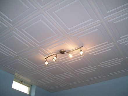 A nice looking suspended ceiling see for more - Ceiling tile ideas for basement ...