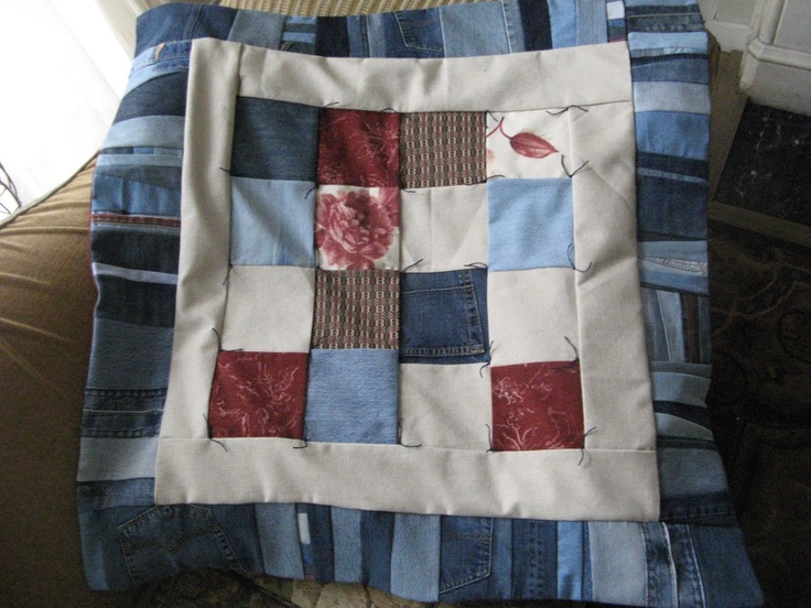 Denim and khaki quilt---- Got scraps from the kids school uniforms (or really from the boy's torn school pants- I really don't know how he can get holes in them so quickly)