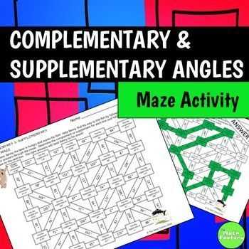 """In this fun maze activity, your students will practice calculating supplementary angles and complementary angles while helping the bear find his fish snack!  Breathe a little fun into your geometry practice with this fun """"worksheet in disguise""""!YOU MAY ALSO LIKETwo Step Equations MazeMiddle School Math Maze Bundle7th Grade Geometry Vocab Maze"""