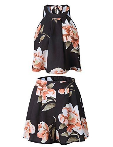 57f88a7864 Women's Floral Printed Summer Dress Romper Boho Playsuit Jumpsuits Beach 2  Piece Outfits Top With Shorts