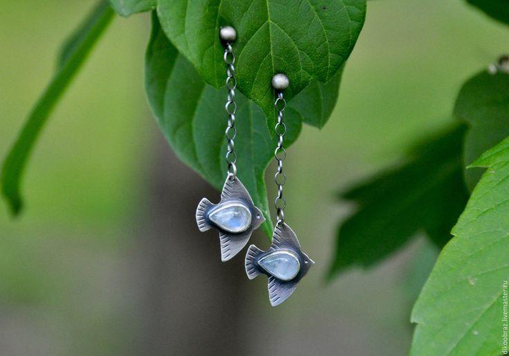 """Купить Серьги """"Белые Птицы"""" (серебро 925, лунные камни) - белый, птица, птицы"""