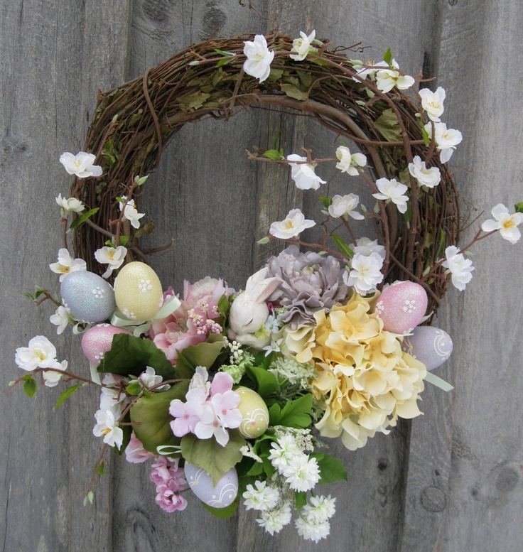 Easter Wreath, Spring Decor, Garden Wreath, Country Cottage, Bunnies, Designer Wreath. $139.00, via Etsy.