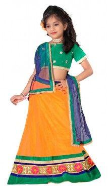 Orange Color Lehenga Cholis For Girl's