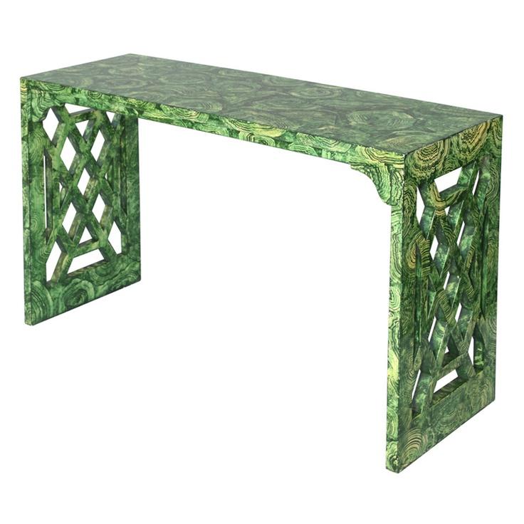 Faux Malachite Console Table