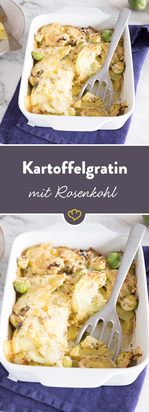 Ein herrlich knuspriges Kartoffelgratin, das dank Rosenkohl und Gruyère einen neuen Twist bekommt - Schicht für Schicht zum Glück!