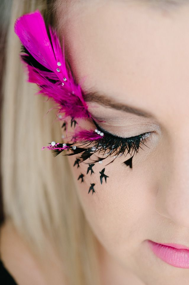 Pink birds inspired lashart and make-up done bywww.claritasmit.co.za