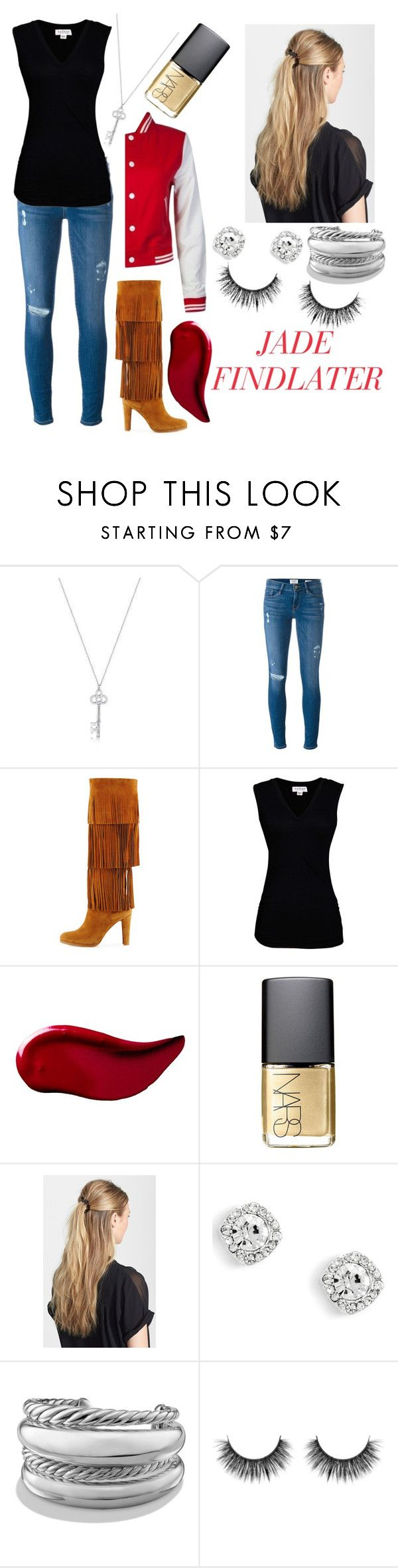 """""""J.F"""" by nowstop-emmatime on Polyvore featuring Frame Denim, Stuart Weitzman, Velvet by Graham & Spencer, Kat Von D, NARS Cosmetics, France Luxe and David Yurman"""