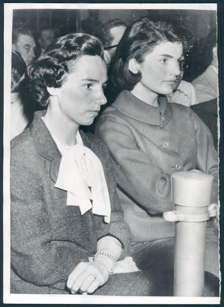 Ethel and Jackie Kennedy in the early 1950s, probably watching their husbands duke it out in the Senate (at the time, JFK was a newly anointed Senator, and Bobby was currently leading a Racketts Committee against big company corruption).