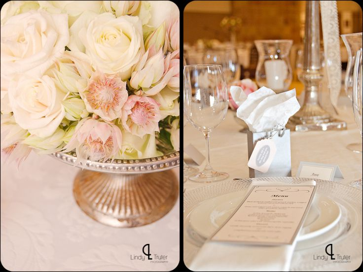 Blush pink and cream reception flowers