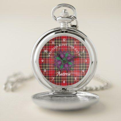 Scottish Tartan Plaid Thistle Graphic Personalized Pocket Watch - flowers floral flower design unique style