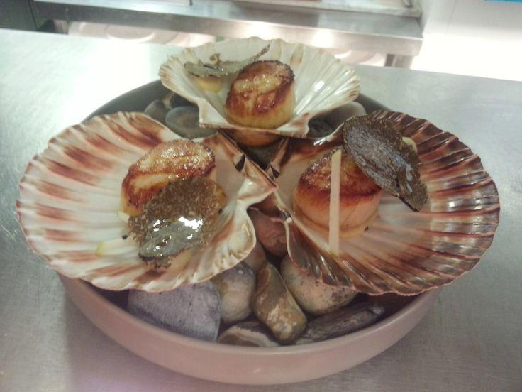 Scallops, apple, celeriac, autumn truffle, truffle bouillon 2014 http://www.fallowfields.com/restaurant/our-fine-dining-menus/a-la-carte/