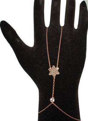 925 ayar Gümüş Kartanesi Şahmeran Bileklik, Pembe - Siyah Taş