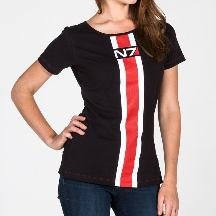 Loose fitting, long tscoop neck tee with N7 Armour Stripe down front chest  165 grams, 95% cotton / 5% spandex black tee 2-color screen print on front