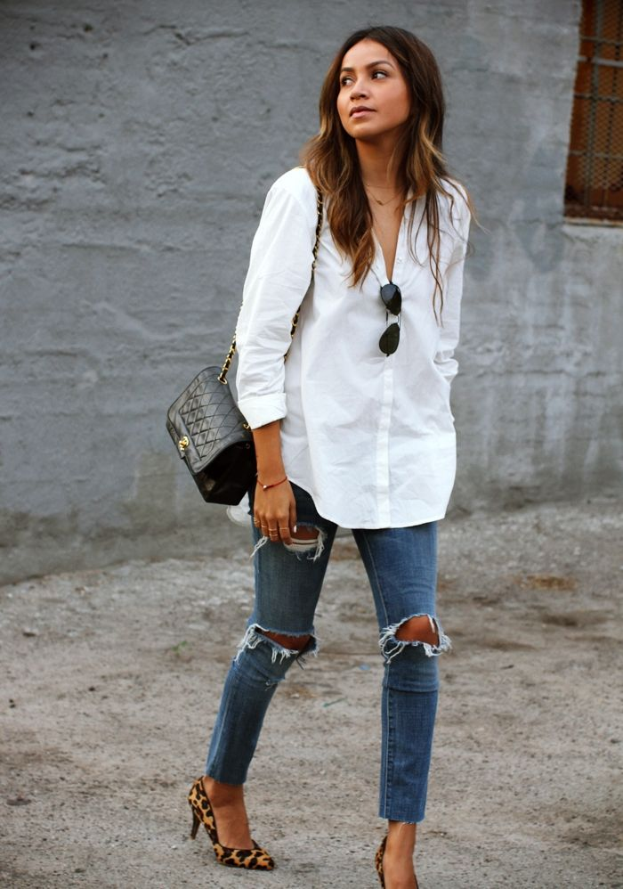 crisp white button-down with distressed denim and leopard heels // street style