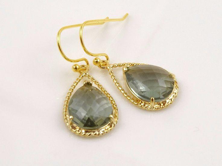 Ohrhänger - Gold Tropfen Holzkohle Grau Ohrringe  - ein Designerstück von Crystalshadow bei DaWanda