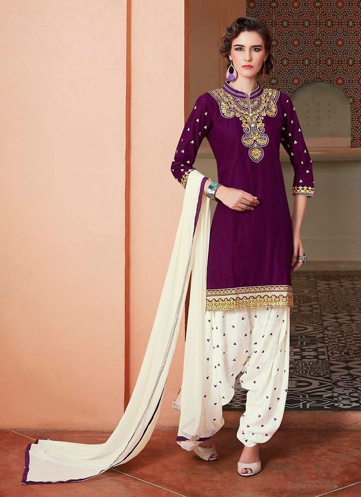 Looking great with attachment of Plum Cotton Unstitched Salwar Kameez. The…