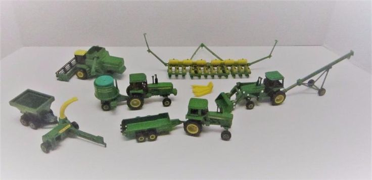 Vintage Farm Toys John Deere Tractors & Implements Ertl Wagons, Combine Lot 10 #MixedLot #JohnDeere #diecasttoys