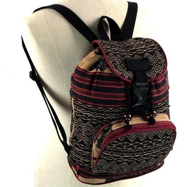 (M) Southwestern Rolltop Backpack ❤ liked on Polyvore featuring bags, backpacks, day pack backpack, cotton bags, tribal bags, tribal pattern backpack and knapsack bag