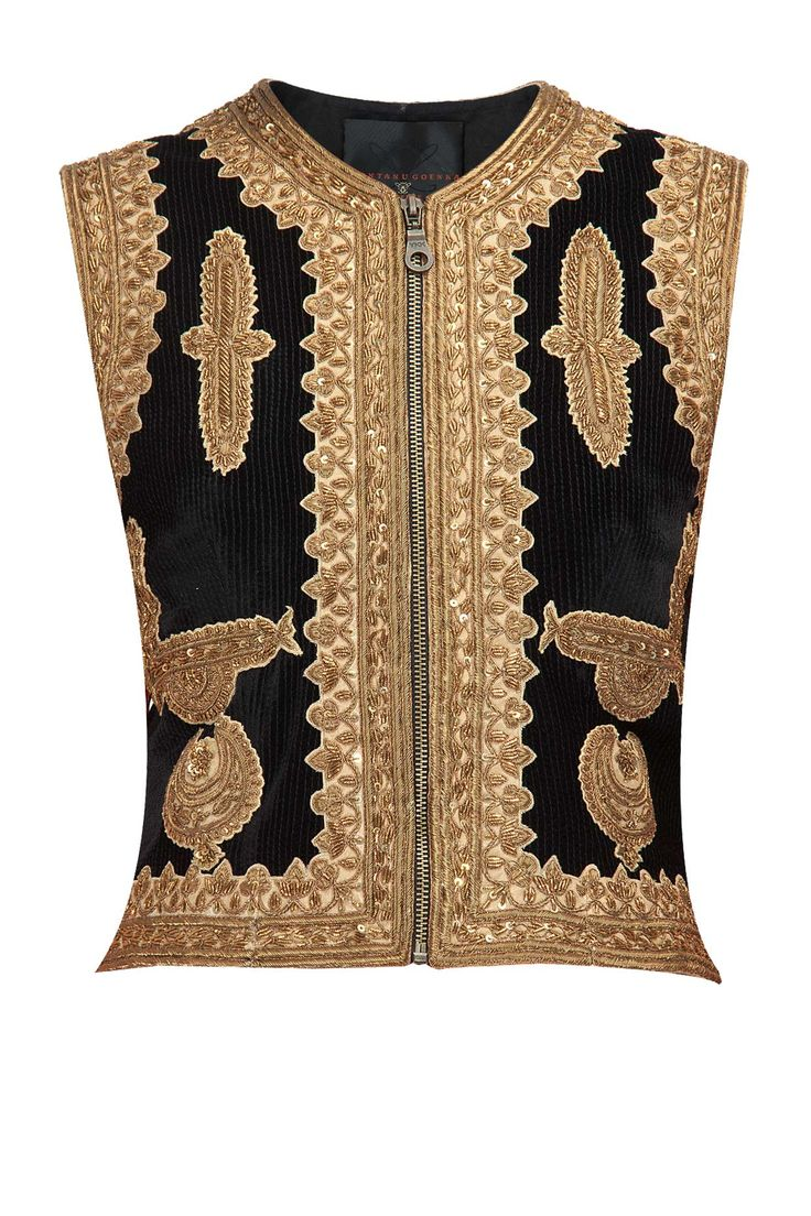 Black applique work velvet waistcoat available only at Pernia's Pop-Up Shop.
