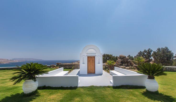 ALEGRIA villa | chapel & seating space | Mykonos