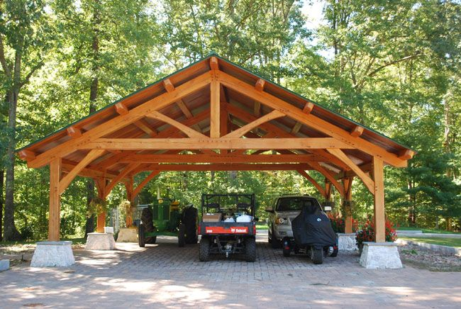 17 best images about outdoor patio shelter large beam on for Timber carport plans