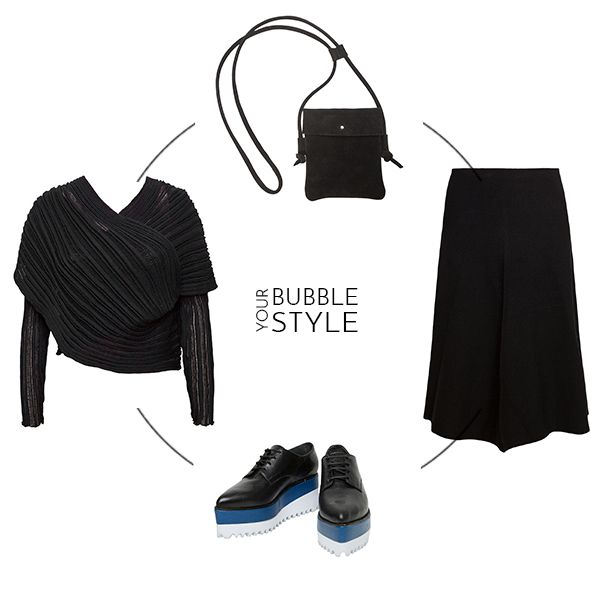 "A total black outfit plus a pair of statement shoes is all you need to Bubble Your Style! Ioanna Kourbela ""New Skin"" skirt, 2550 Cardigan, Black Leather Post Belt & Jeffrey Campbell Platform Brogues! #Stylebubbles #fashion #onlineshopping"