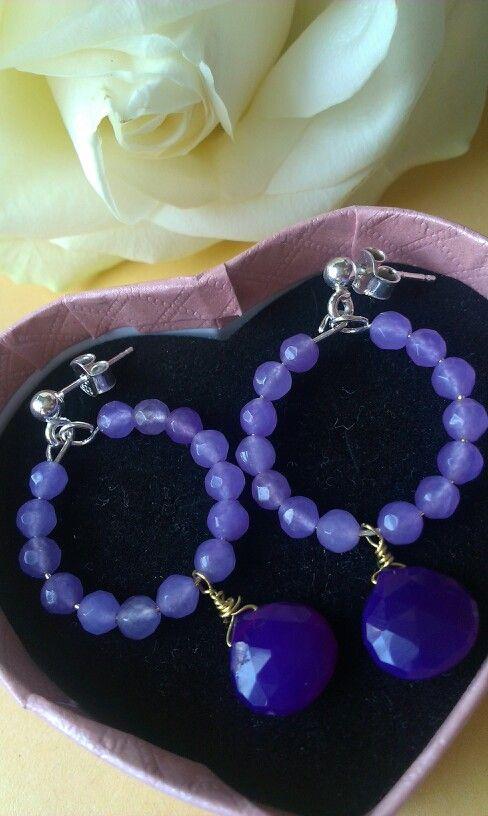 Chalcedony earrings silver 925 agata viola amethyst