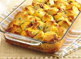 bacon-cheese pull-aparts  1 egg  2tbsp millk  1 can grands  1  2.1-oz bacon pre cooked cut into pieces  3 oz shredded cheese (3/4 cup)  1/4 chopped green onions  Heat oven to 350 spray 2 qt glass baking dish  beat egg  separate dough into 8 biscuts cut each into quarters   gently stir biscut pieces into egg mixture and fold in the rest of ingredients  bake 23 to 28 minutes or until golden brown